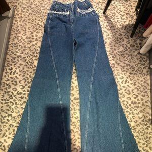 Flair wide legged jeans.